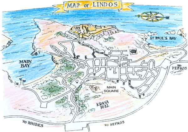 Map of Hotels in Lindos Rhodes